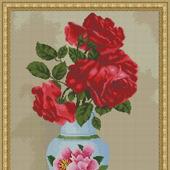 """Авторская схема для вышивки крестом """"Красные розы в вазе"""""""