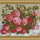 """Авторская схема для вышивки крестом """"Садовые розы в корзине"""""""