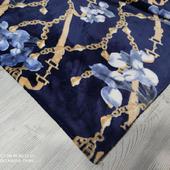 Велсофт цветы/цепи золотые на темно-синем