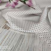 Плательная ткань супер-софт горошек мелкий на белом