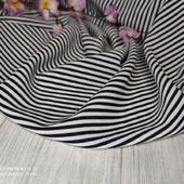 Креп стрейч полоска черно-белая мелкая