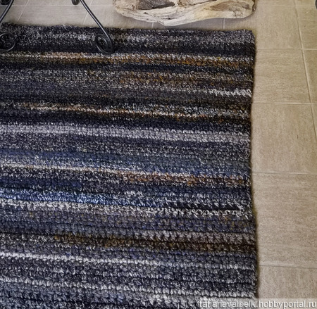 Вязаный коврик меланж прямоугольный ручной работы на заказ
