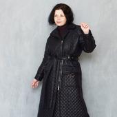 Пальто чёрное длинное стеганное, с шерстяным утеплителем