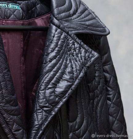 Пальто чёрное длинное стеганное, с шерстяным утеплителем ручной работы на заказ