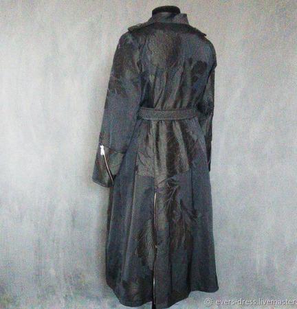 Плащ женский длинный Муссон, хлопок, шёлк ручной работы на заказ