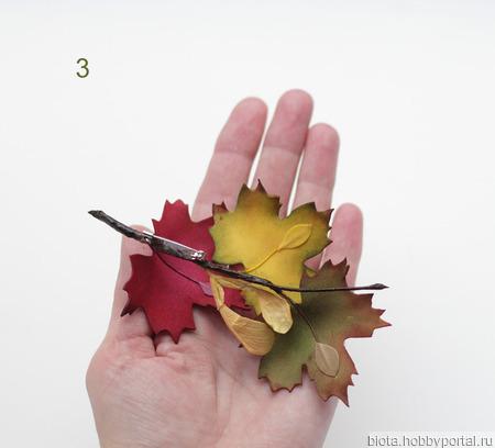 Брошь кленовые листья осенние разноцветные из фоамирана ручной работы на заказ