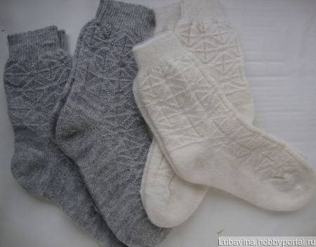 Носки вязаные из рассказовской ангоры бесшовные ручной работы на заказ