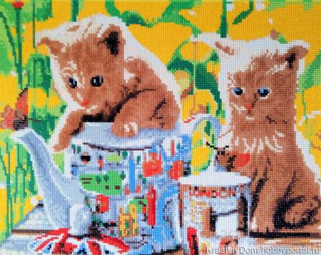 "Картина алмазная мозаика ""Два котенка за чаем"" ручной работы на заказ"