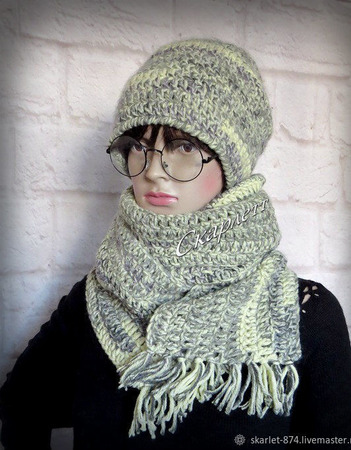 Вязаная шапка и длинный шарф на зиму ручной работы на заказ
