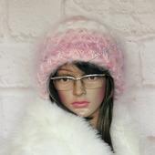 Мохеовая зимняя вязаная шапка с отворотом узором звёздочки