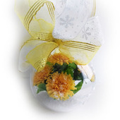 Новогодний шар с одуванчиками из полимерной глины