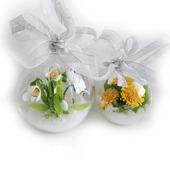 Набор новогодних шаров с цветами из полимерной глины