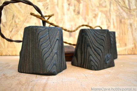 Потолочная люстра/ночник из дерева в стиле Лофт ручной работы на заказ