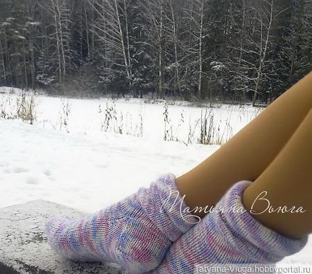 """Носки вязаные, шерстяные """"Приходи на меня посмотреть"""" ручной работы на заказ"""
