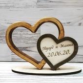 """Подарок на деревянную свадьбу """"Два сердца"""""""