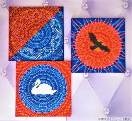 """Панно на стену триптих """"Небо, солнце и вода"""" ручной работы на заказ"""