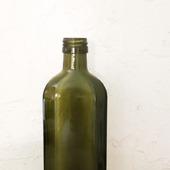 Бутылка маленькая граненная оливковое стекло с крышкой