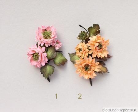 Брошь розовые, оранжевые цветы хризантемы из фоамирана ручной работы на заказ