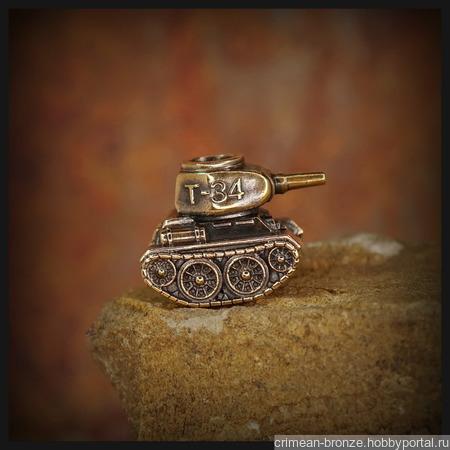 """Темлячная бусина """"Т-34"""" для ножа, бронза ручной работы на заказ"""