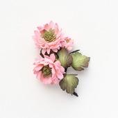 Брошь розовые, оранжевые цветы хризантемы из фоамирана