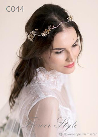 Свадебный ободок для волос С044 ручной работы на заказ