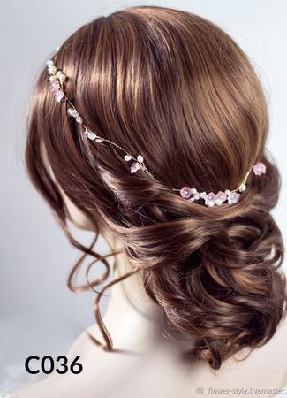 Свадебный ободок для волос С036 ручной работы на заказ