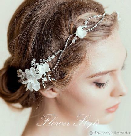 Свадебный ободок для волос С043 ручной работы на заказ