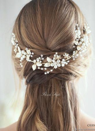 Свадебный ободок для волос С039 ручной работы на заказ