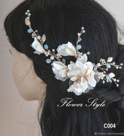 Свадебное украшение для волос С004 ручной работы на заказ