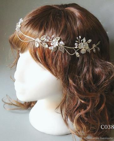 Свадебный ободок для волос С038 ручной работы на заказ
