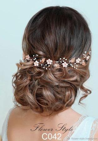 Свадебный ободок для волос  С042 ручной работы на заказ
