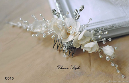 Свадебное украшение для волос С015 ручной работы на заказ