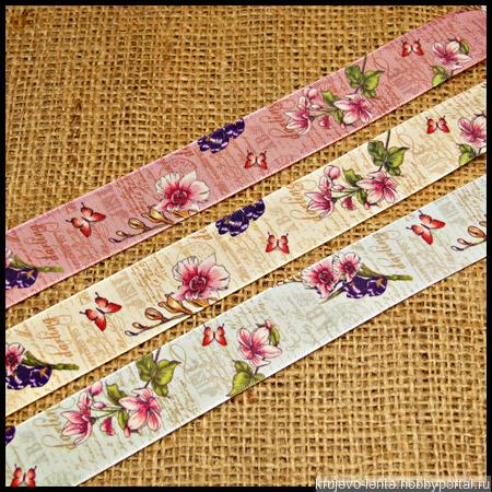 Лента сатиновая цветная ручной работы на заказ