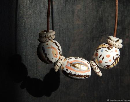 """Керамические бусы """"Золотые рыбки"""" ручной работы на заказ"""