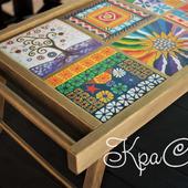 """Деревянный поднос - столик для завтрака с ручной росписью """"Витражи"""""""