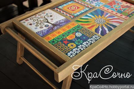 """Деревянный поднос - столик для завтрака с ручной росписью """"Витражи"""" ручной работы на заказ"""