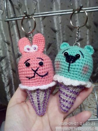 Брелок Мороженка Мишка ручной работы на заказ