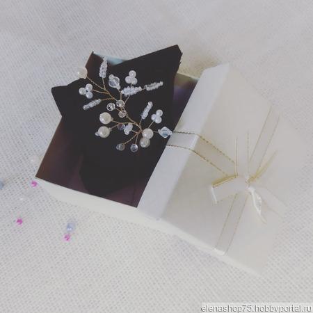 Веточка из бисера и бусин на шпильке ручной работы на заказ