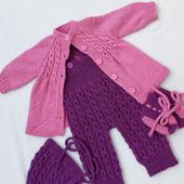 Комплект одежды для малышей: кардиган+полукомбинезон+чепчик+пинетки
