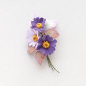 Брошь букетик цветов фиолетовая сиреневая из фоамирана