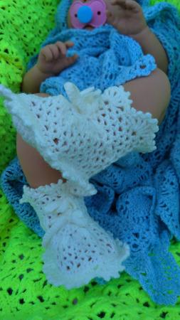 Пинетки для новорожденного кружевные теплые ручной работы на заказ