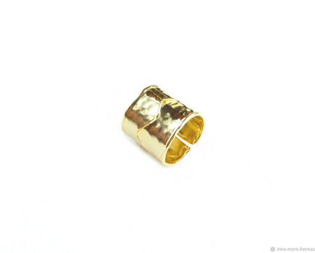 Золотое широкое кольцо с прорезью ручной работы на заказ