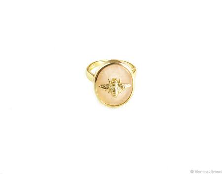 """Кольцо с розовым кварцем """"Пчела"""" ручной работы на заказ"""