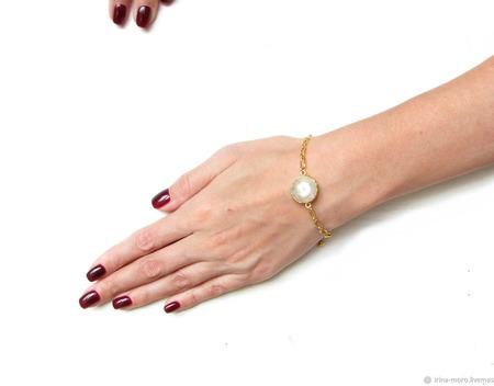 """Браслет цепочка с камнем """"Розовое золото"""" ручной работы на заказ"""