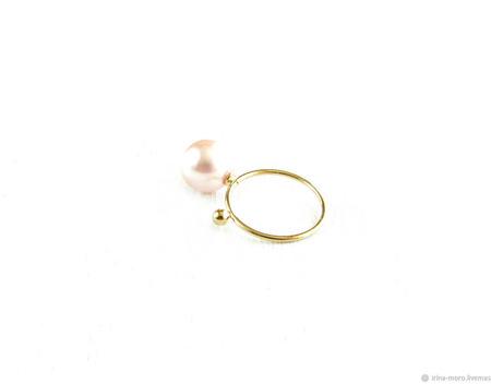 """Позолоченное кольцо с жемчугом """"Тайна"""" ручной работы на заказ"""