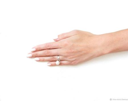 """Кольцо с жемчугом """"Нежность"""" ручной работы на заказ"""