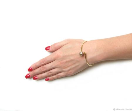 """Оригинальный браслет с жемчугом """"Жемчужина"""" ручной работы на заказ"""
