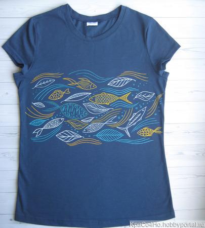 """Оригинальная футболка с росписью """"Рыбки"""" ручной работы на заказ"""