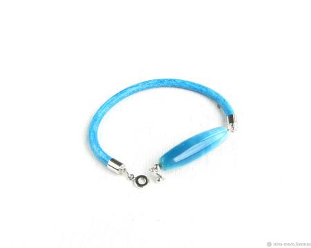 """Стильный голубой браслет с агатом """"Прилив"""" ручной работы на заказ"""