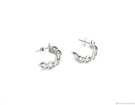 Серебряные серьги кольца цепочки ручной работы на заказ